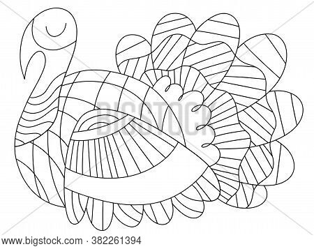 Peaceful Alive Turkey Bird Vector Coloring Page For Kids. Elegance Traditional Thanksgiving Day Bird