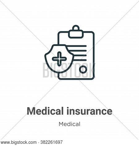 Medical insurance icon isolated on white background from medical collection. Medical insurance icon
