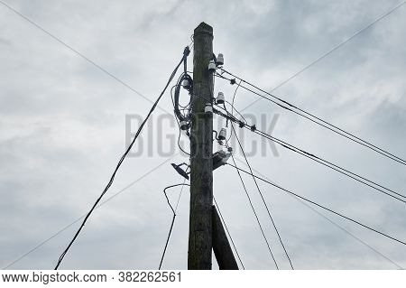 Old Wooden Electric Pole, Outdoor Lighting Pole.