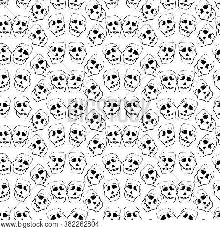 Creepy Skulls Black And White Halloween Seamless Vector Pattern. Monochromatic Spooky Surface Print
