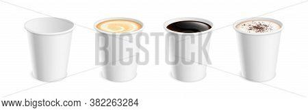 White Realistic Coffee Mug. Hot Cup Latte Mocha Cocoa Cappuccino, Americano Or Espresso For Breakfas