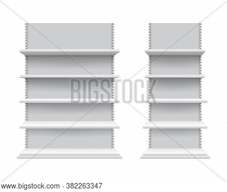 Realistic Shelves Mockup. Isolated Store Shelving, White Commercial Display. 3d Blank Retail Equipme