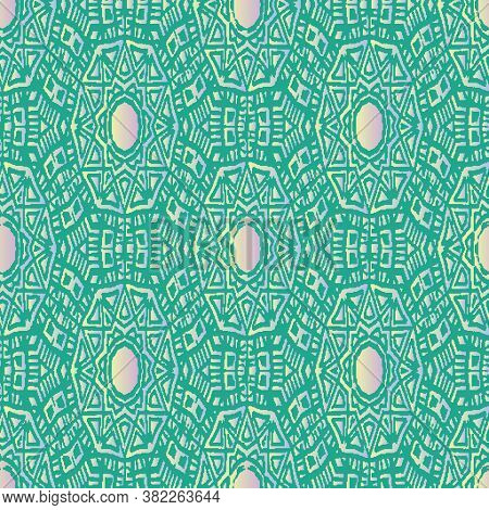Decorative Ornament Seamless Vector Pattern With Opals. Surface Print Design With October Birthstone
