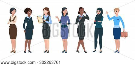 Business Woman Characters. Isolated Professional Young Businesswomen. Smart Elegant Femmes, Office C