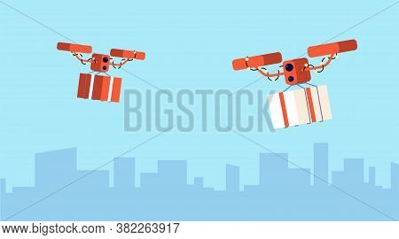 Presents Drone Delivery. Christmas Gift, Flying Parcels. Digital Logistic, Modern Contactless Servic