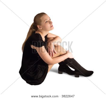 Sitting Girl In Black Velure Dress And Shoes