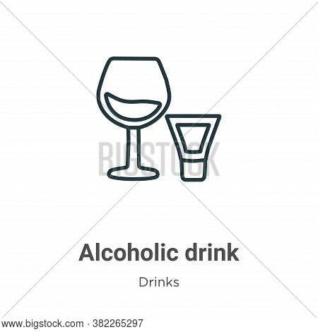 Alcoholic drink icon isolated on white background from drinks collection. Alcoholic drink icon trend