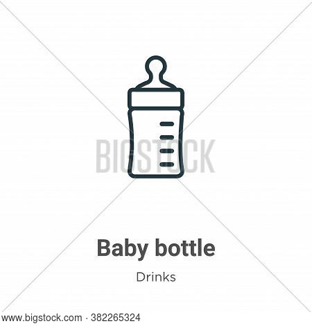 Baby bottle icon isolated on white background from drinks collection. Baby bottle icon trendy and mo