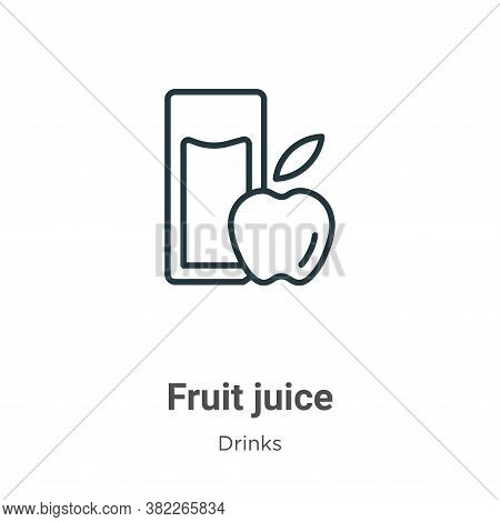 Fruit juice icon isolated on white background from drinks collection. Fruit juice icon trendy and mo