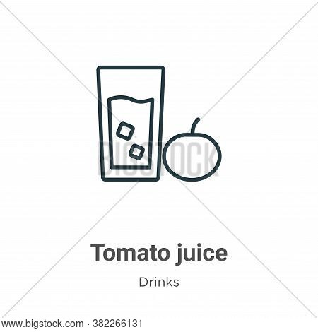 Tomato juice icon isolated on white background from drinks collection. Tomato juice icon trendy and