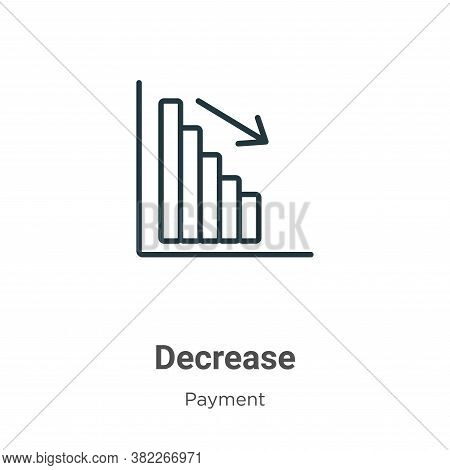 Decrease icon isolated on white background from payment collection. Decrease icon trendy and modern