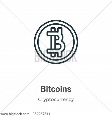 Bitcoins icon isolated on white background from cryptocurrency collection. Bitcoins icon trendy and