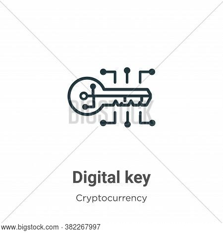 Digital key icon isolated on white background from cryptocurrency collection. Digital key icon trend