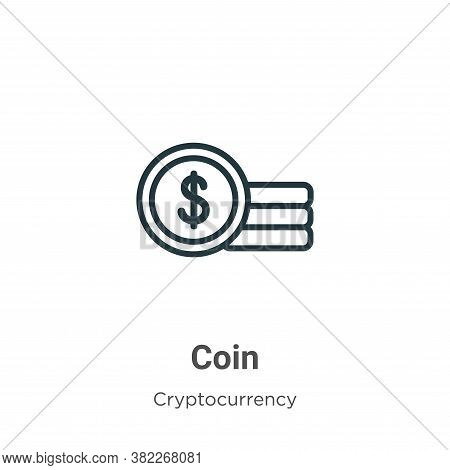 Coin icon isolated on white background from cryptocurrency collection. Coin icon trendy and modern C