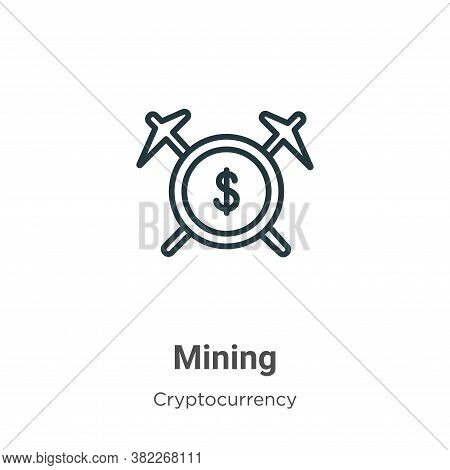 Mining icon isolated on white background from cryptocurrency collection. Mining icon trendy and mode
