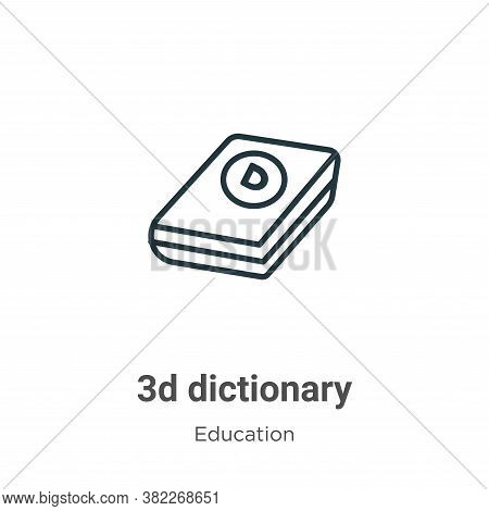 3d dictionary icon isolated on white background from education collection. 3d dictionary icon trendy