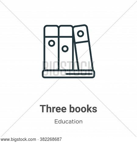 Three books icon isolated on white background from education collection. Three books icon trendy and