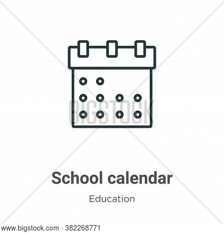 School calendar icon isolated on white background from education collection. School calendar icon tr