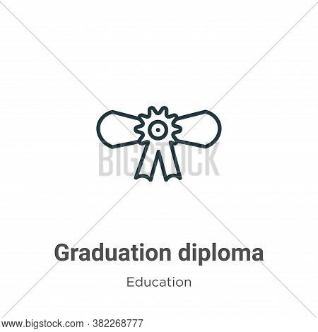 Graduation diploma icon isolated on white background from education collection. Graduation diploma i