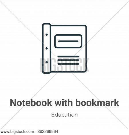 Notebook with bookmark icon isolated on white background from education collection. Notebook with bo