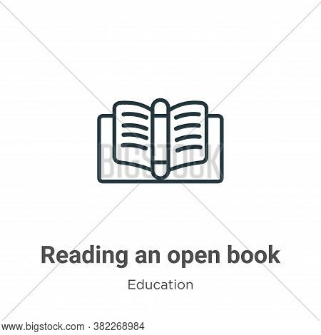 Reading an open book icon isolated on white background from education collection. Reading an open bo