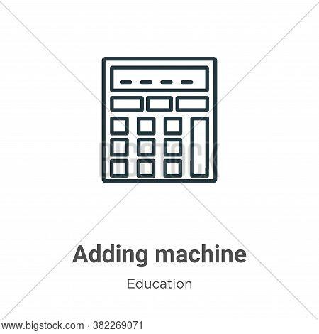 Adding machine icon isolated on white background from education collection. Adding machine icon tren