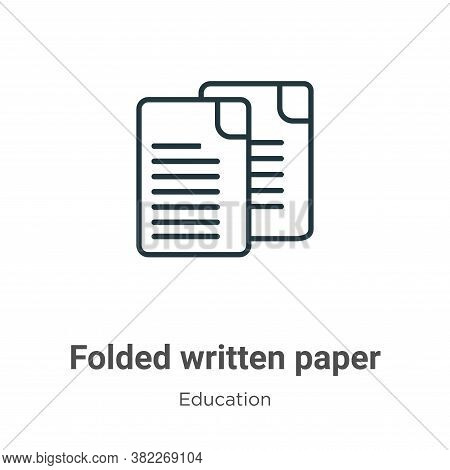 Folded written paper icon isolated on white background from education collection. Folded written pap