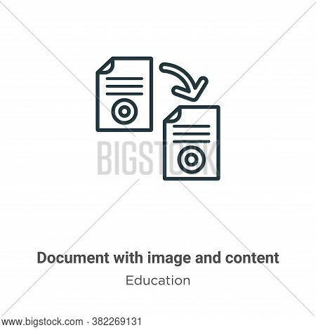 Document with image and content icon isolated on white background from education collection. Documen