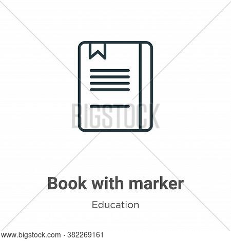 Book with marker icon isolated on white background from education collection. Book with marker icon