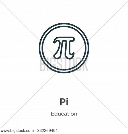 Pi icon isolated on white background from education collection. Pi icon trendy and modern Pi symbol