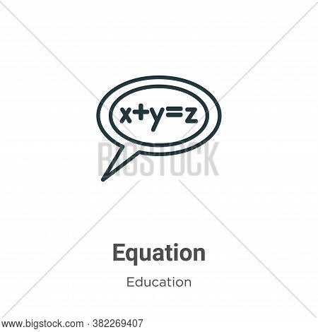 Equation icon isolated on white background from education collection. Equation icon trendy and moder
