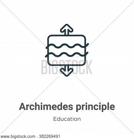 Archimedes principle icon isolated on white background from education collection. Archimedes princip
