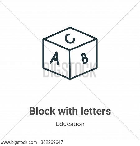 Block with letters icon isolated on white background from education collection. Block with letters i