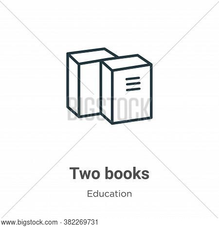 Two books icon isolated on white background from education collection. Two books icon trendy and mod