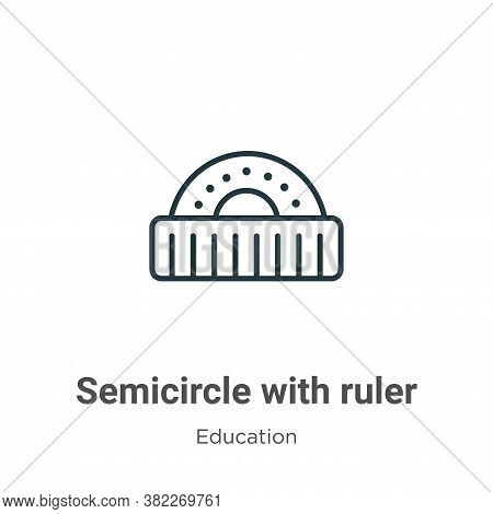 Semicircle with ruler icon isolated on white background from education collection. Semicircle with r