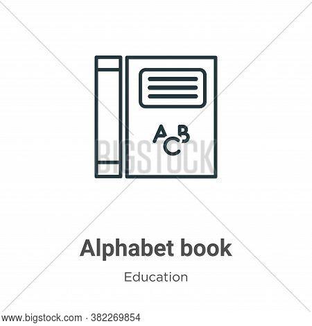 Alphabet book icon isolated on white background from education collection. Alphabet book icon trendy
