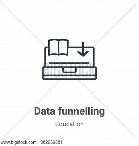 Data funnelling icon isolated on white background from education collection. Data funnelling icon tr