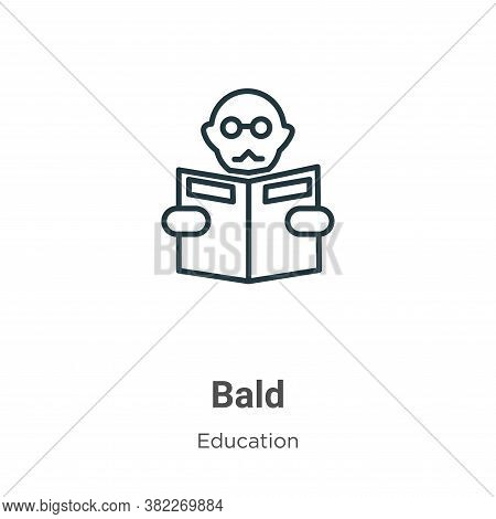 Bald icon isolated on white background from education collection. Bald icon trendy and modern Bald s