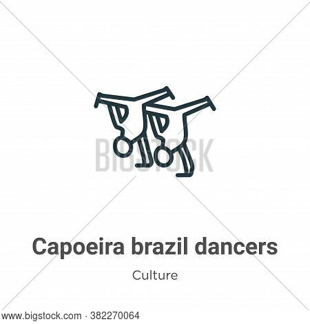 Capoeira brazil dancers icon isolated on white background from culture collection. Capoeira brazil d