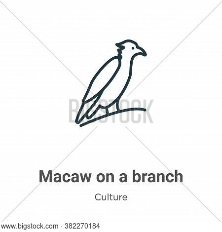 Macaw on a branch icon isolated on white background from culture collection. Macaw on a branch icon