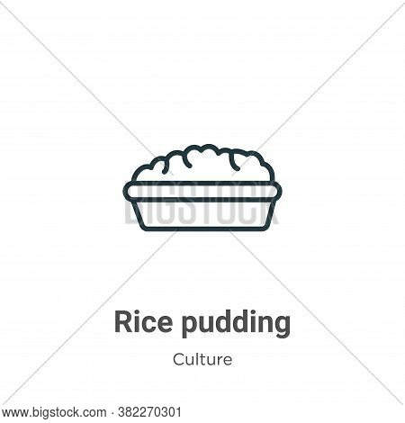 Rice pudding icon isolated on white background from culture collection. Rice pudding icon trendy and