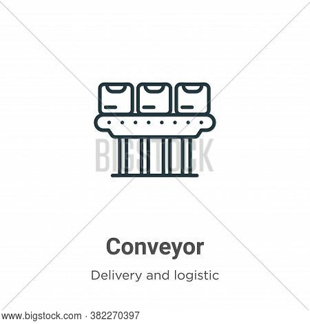 Conveyor icon isolated on white background from delivery and logistic collection. Conveyor icon tren