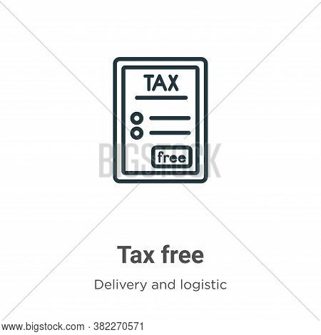 Tax free icon isolated on white background from delivery and logistics collection. Tax free icon tre