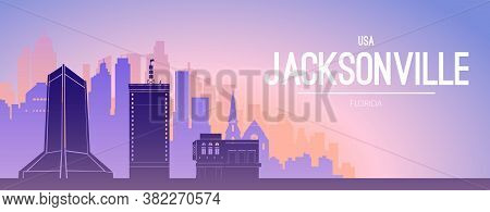 Jacksonville Famous City Scape View Banner Background.