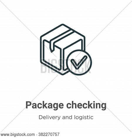 Package checking icon isolated on white background from delivery and logistics collection. Package c