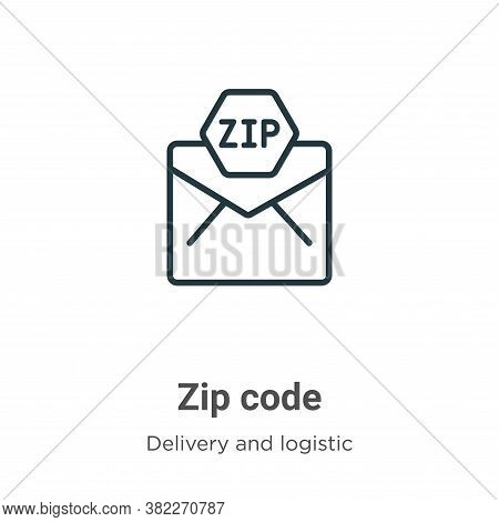 Zip code icon isolated on white background from delivery and logistics collection. Zip code icon tre