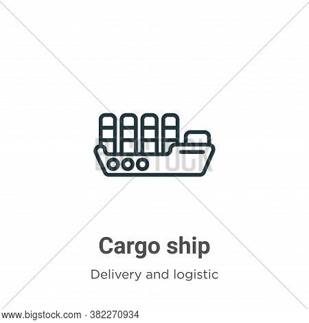 Cargo ship icon isolated on white background from packing and delivery collection. Cargo ship icon t