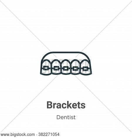 Brackets icon isolated on white background from dentist collection. Brackets icon trendy and modern