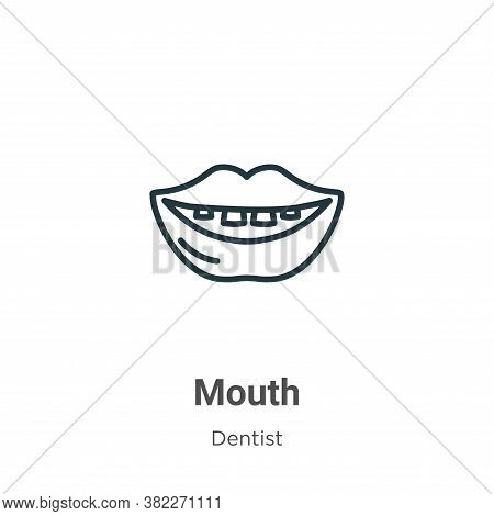 Mouth icon isolated on white background from dentist collection. Mouth icon trendy and modern Mouth