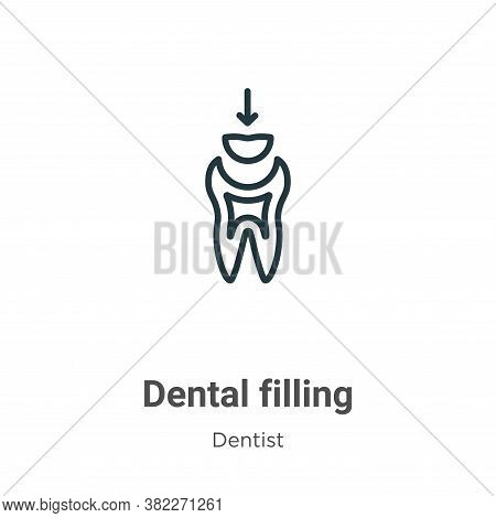 Dental filling icon isolated on white background from dentist collection. Dental filling icon trendy